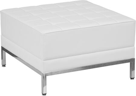 ZB-IMAG-OTTOMAN-WH-GG HERCULES Imagination Series White Leather
