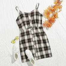 Button Up Plaid Cami Dress