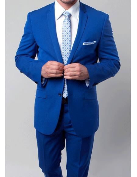 Mens 2 Buttons Royal Blue slim fit suit Single Pleated Pants