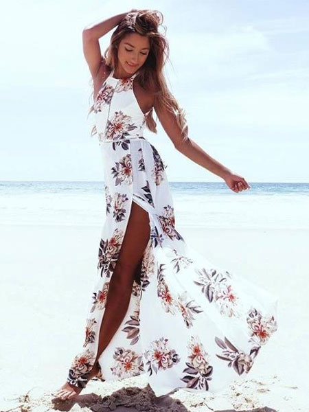 Milanoo White Maxi Dress Floral Print Sleeveless Backless Split Summer Dress