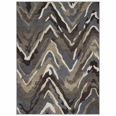 Concord Global Trading New Casa Collection Waves Area Rug, One Size , Blue