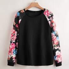 Sweatshirt mit Blumen Muster an Ärmeln