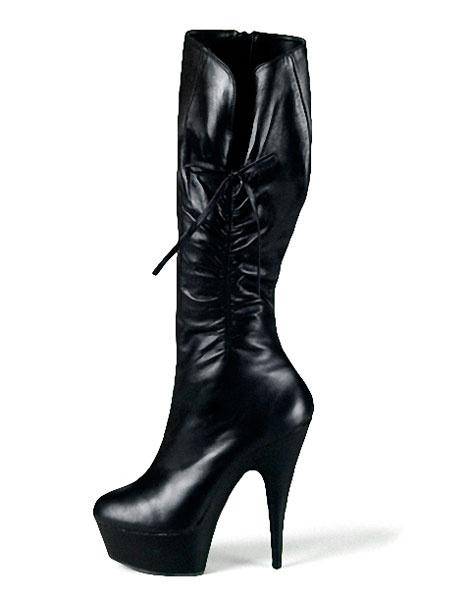 Milanoo Botas altas negras de las mujeres de la plataforma de las botas acanaladas de la almendra de la plataforma