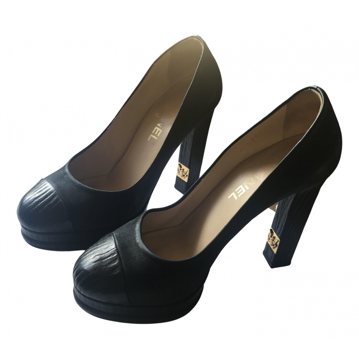 Chanel N Black Leather Heels for Women 38.5 IT