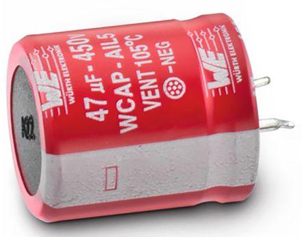 Wurth Elektronik 180μF Electrolytic Capacitor 450V dc, Through Hole - 861111486031