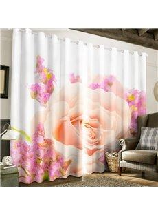 Fresh Light Pink Rose Printed 2 Panels Custom Living Room Window Drapes
