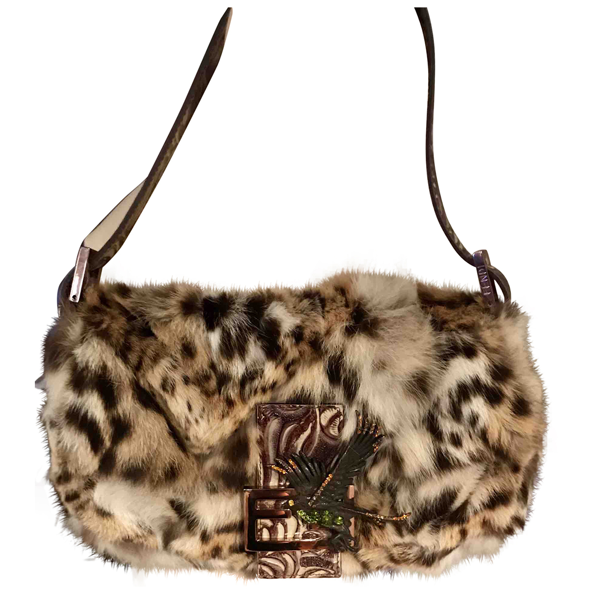 Fendi Baguette Camel Fur Clutch bag for Women N