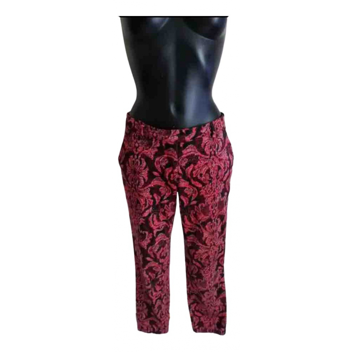 Mango \N Burgundy Cotton Trousers for Women 38 FR