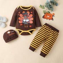 Baby Boy Cartoon Turkey Print Bodysuit & Striped Sweatpants & Hat