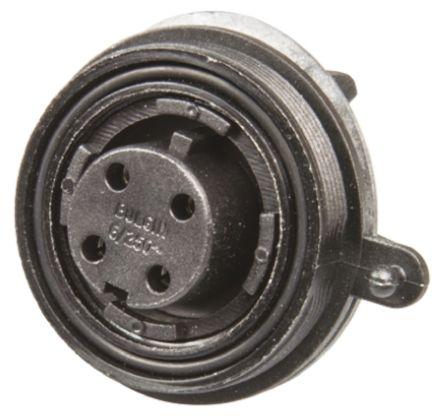 Bulgin Connector, 4 contacts Panel Mount Socket, Screw IP68
