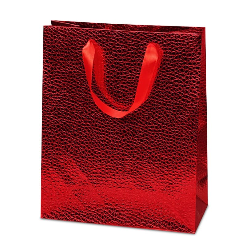 Red Levant Metallic Euro Totes - 7 X 3-7/8 X 9-1/16 - Satin Gusset - 3 7/8 - Quantity: 12 by Paper Mart