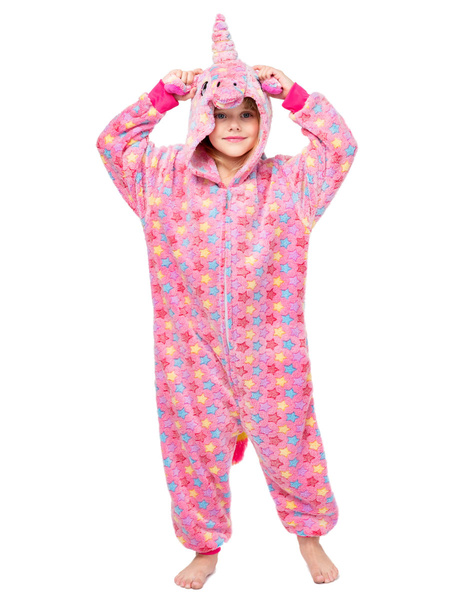 Milanoo Kigurumi Pajamas Onesie Unicorn Front Zip Kid Flannel Easy Toilet Winter Sleepwear Mascot Animal Halloween Costume