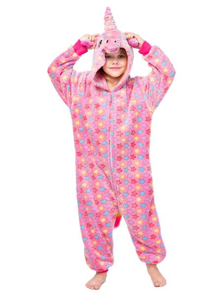 Milanoo Disfraz Halloween Pijama Kigurumi Onesie Unicornio Front Zip Kid Flannel Easy Toilet Jumpsuit Carnaval Halloween