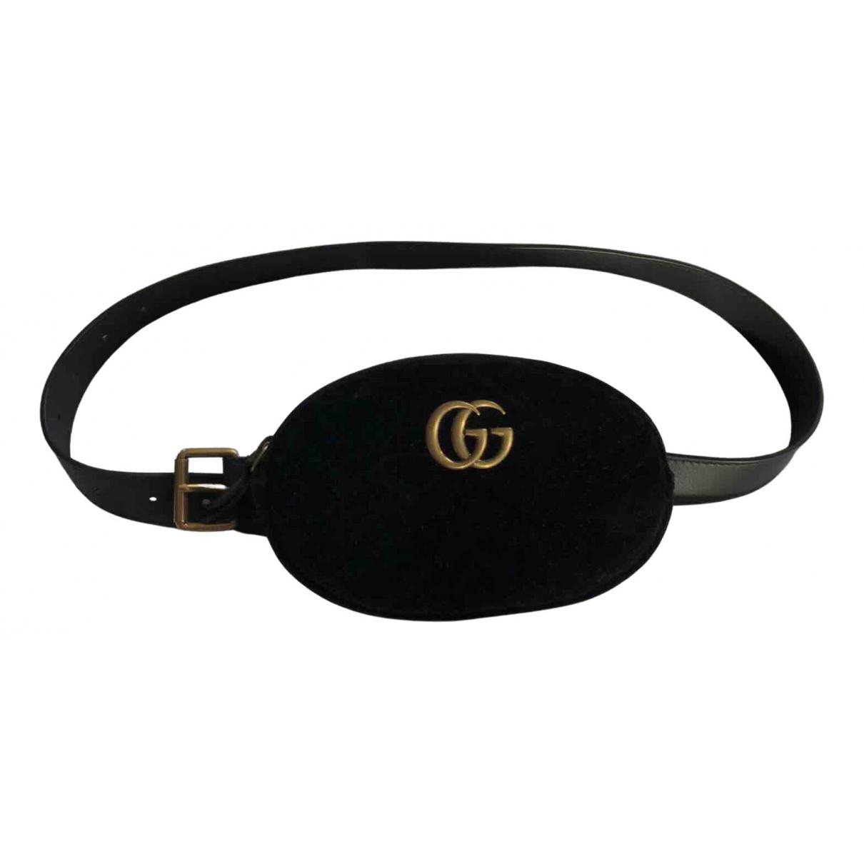 Bolsos clutch Marmont en Ante Negro Gucci