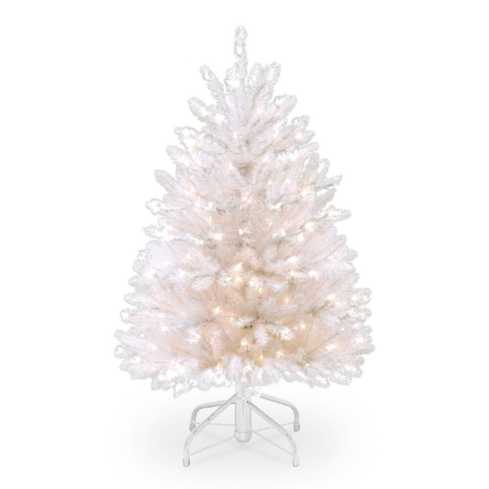 4.5' Pre-lit Dunhill Fir Artificial Christmas Tree - Clear Lights - 4.5 Foot (White)