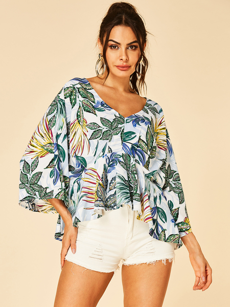 YOINS White Leaf Print V-neck Bell Sleeves Ruffle Trim Blouse