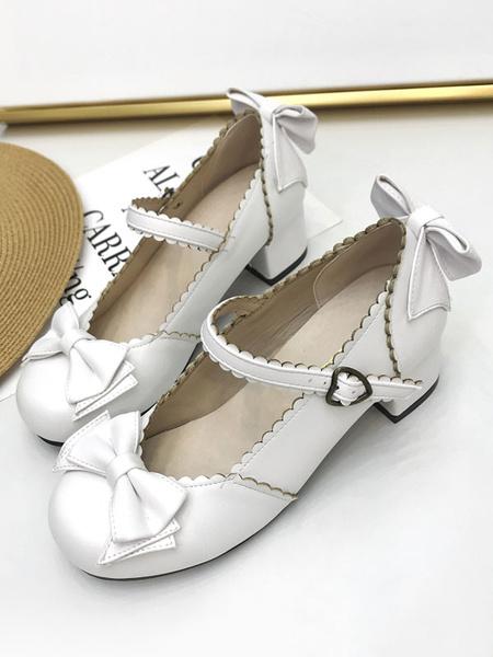 Milanoo Classic Lolita Pump Bow Puppy Heel Lolita Mary Jane Shoes