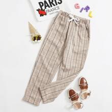 Hose mit Schleife Detail,schraegen Taschen und Karo Muster