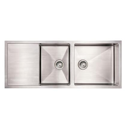 WHNCMD5221 Noah's Collection Brushed Stainless Steel commercial single bowl reversible under mount sink with an integral drain