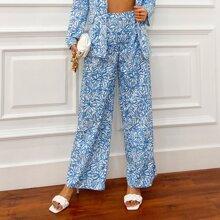 Double Crazy pantalones con estampado floral de cintura alta