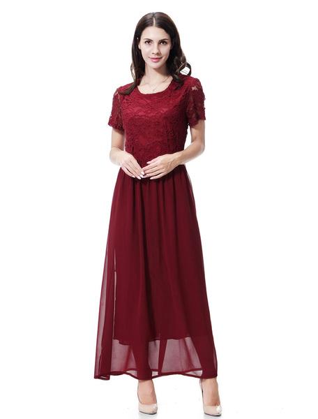 Milanoo Chiffon Abaya Dress Short Sleeve Lace Solid Color Muslim Dress