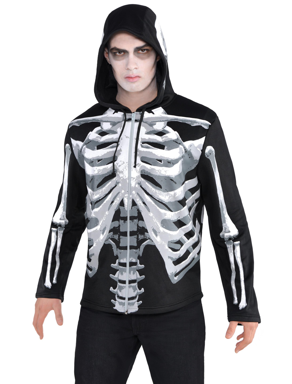 Hoodie mit Knochen Herren schwarz