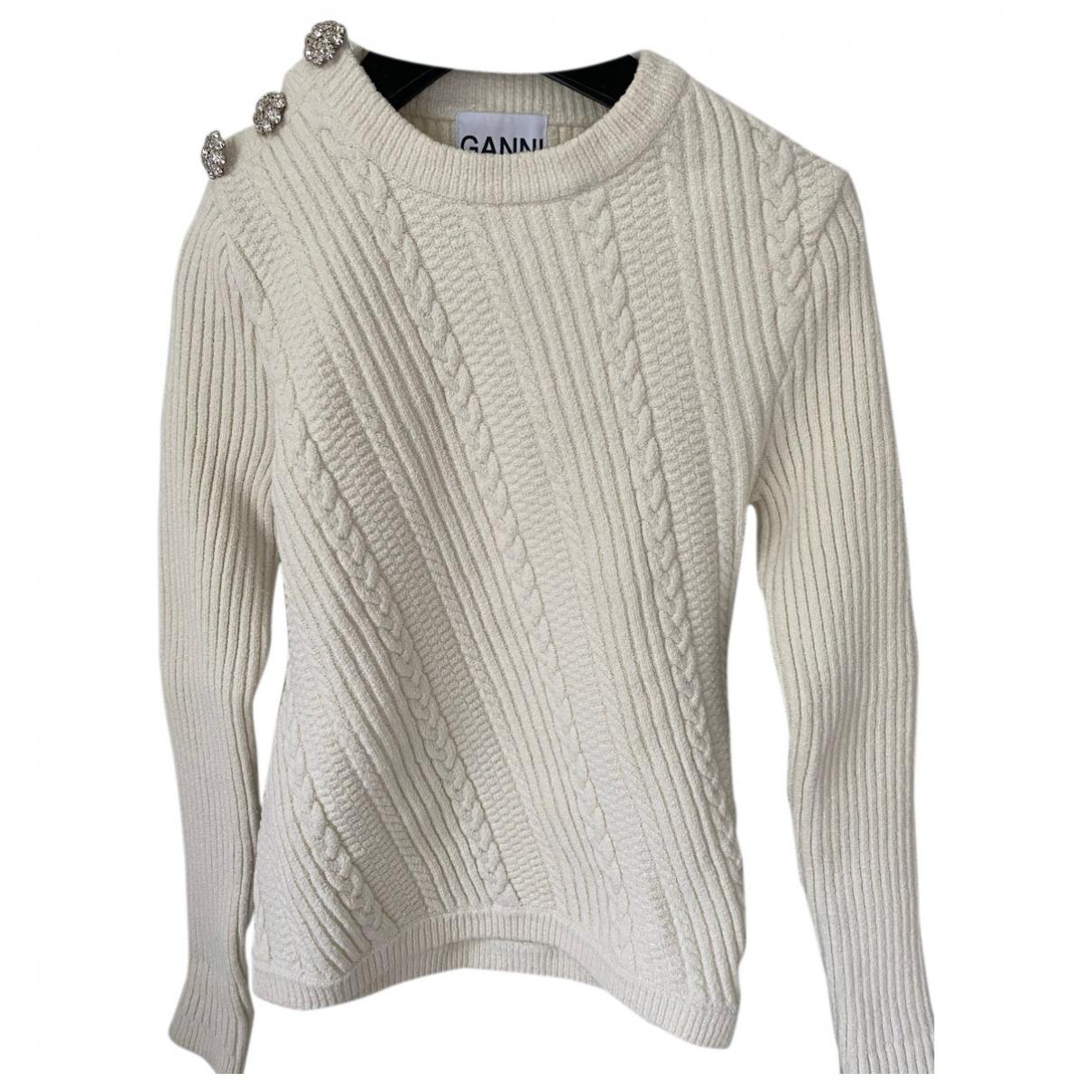 Ganni - Pull Fall Winter 2019 pour femme en coton - blanc