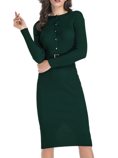 Milanoo Women\s Knitted Dress Buttons Belt Included Long Sleeves Jewel Neck Red Sheer Midi Dress