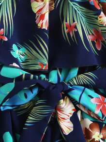 Girls Tropical Print Belted Ruffle Bardot Romper