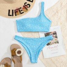 Bañador bikini de un hombro floral de margarita