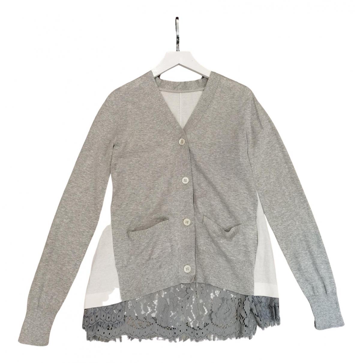 Sacai - Pull   pour femme en coton - gris