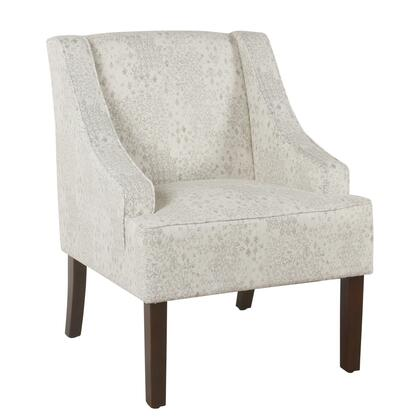 BM194002 Fabric Upholstered Wooden Accent Chair with Swooping Arms  Gray and