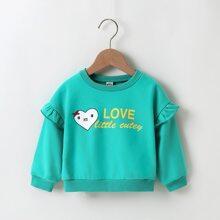 Toddler Girls Letter Graphic Ruffle Trim Sweatshirt