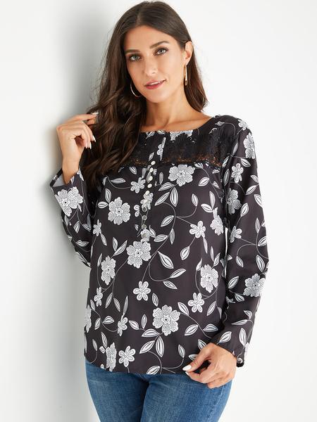 Yoins Black Random Floral Print Round Neck Long Sleeves Blouse