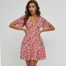 Tie Back Flounce Sleeve Floral Layered Dress