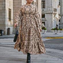 A-Linie Kleid mit Halsband und Schlangenleder Muster