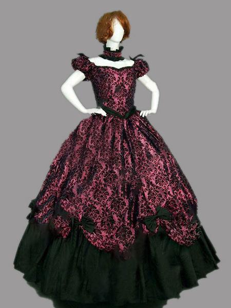 Milanoo Disfraz Halloween Borgoña Retro Disfraces Mujer Jacquard Bow Ruffle Marie Antoinette Disfraz Vintage Disfraz del siglo XVIII Carnaval Hallowee