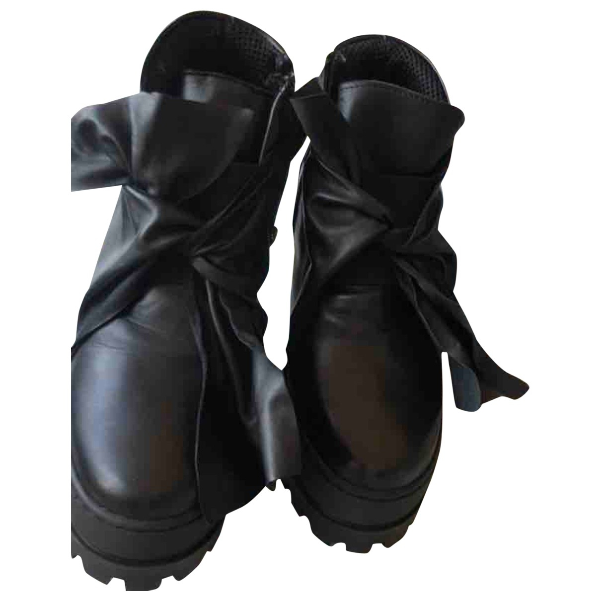 Non Signé / Unsigned \N Black Leather Ankle boots for Women 35 IT