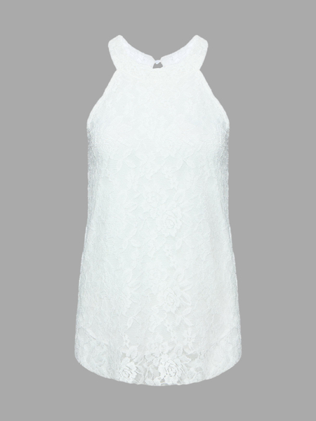 Yoins White Lace Vest With Halter Neck