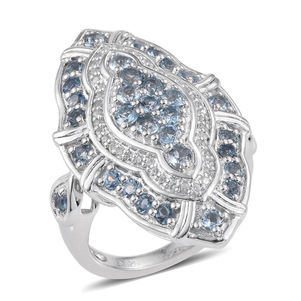 Aquamarine Zircon 925 Sterling Silver Cluster Ring Ct 2.48 (Ring 8)