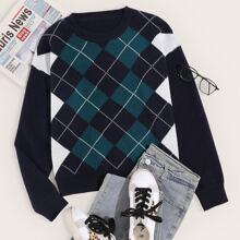 Argyle Pattern Crew Neck Sweater