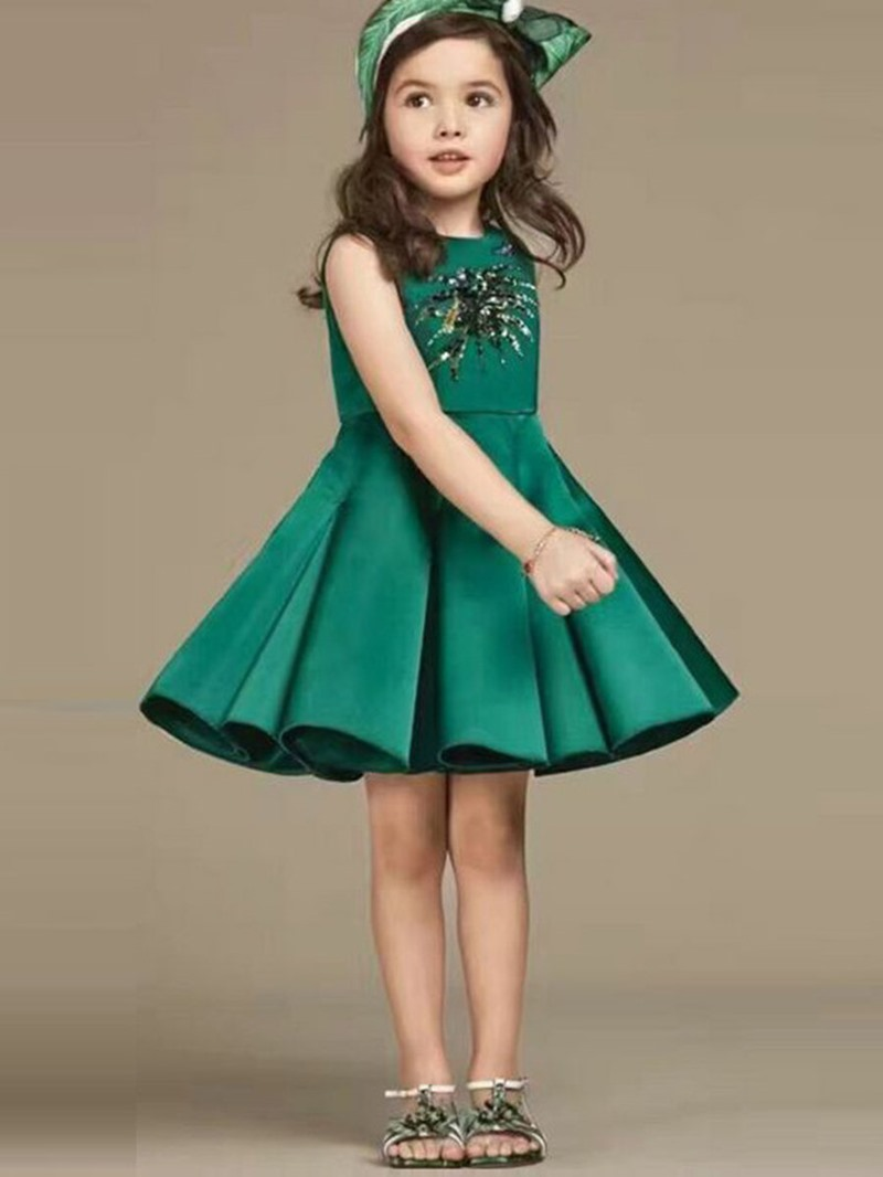 Ericdress Pleated Sequins Embroidery Sleeveless Girls Princess Dress
