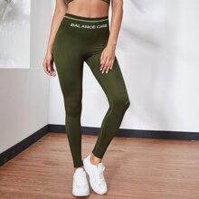 Sports Leggings mit Buchstaben Grafik und breitem Taillenband