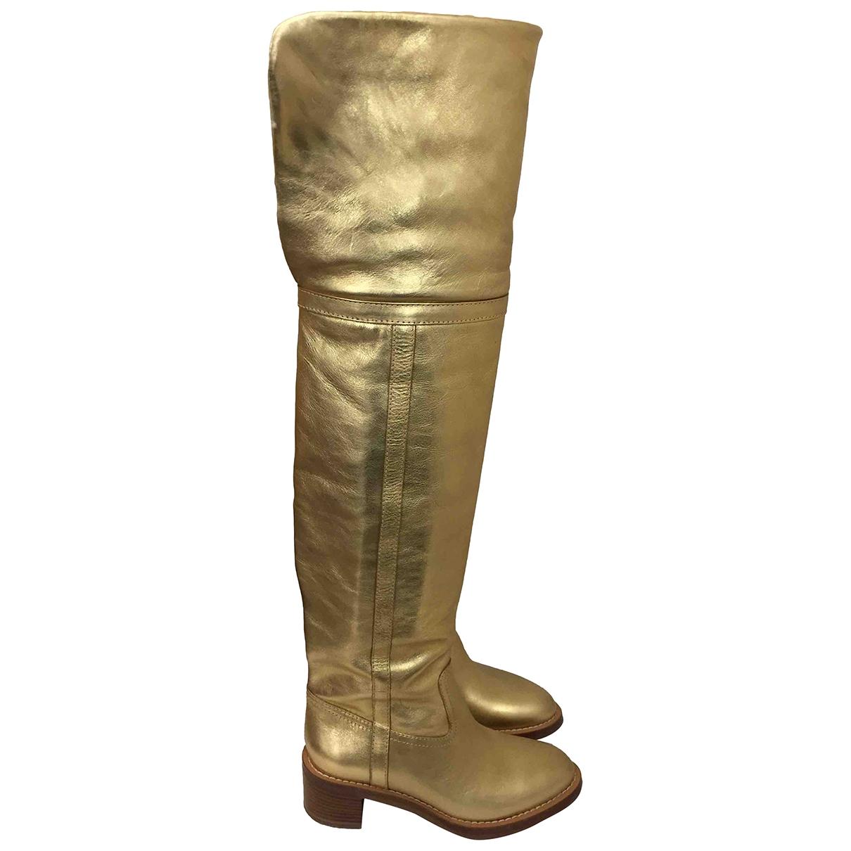 Celine - Bottes Folco pour femme en cuir - dore