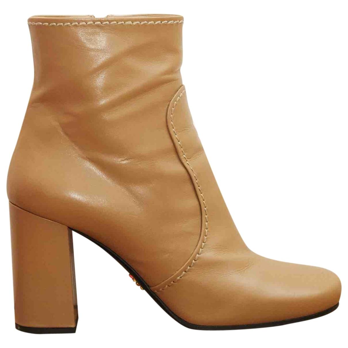 Prada \N Beige Leather Ankle boots for Women 38 EU