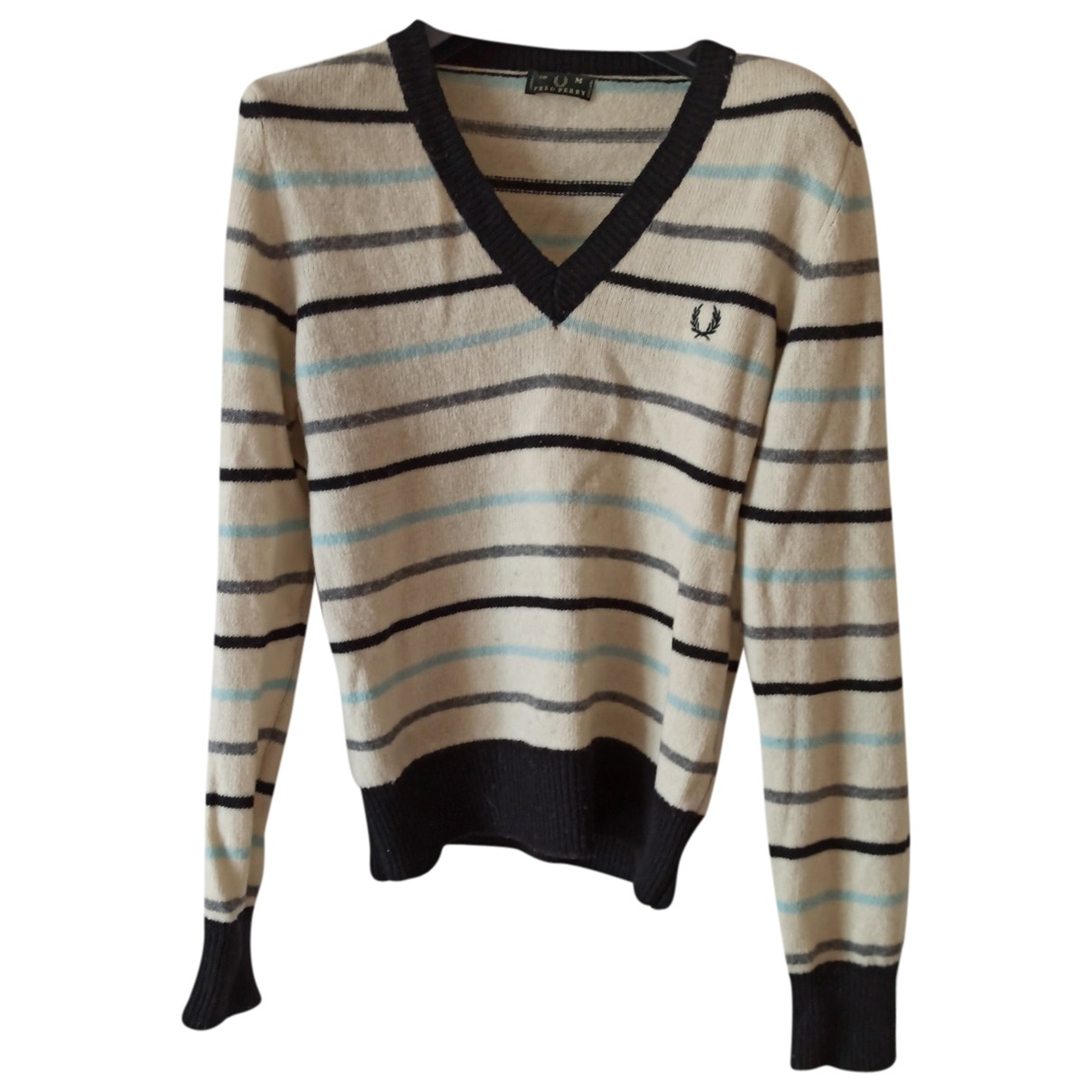Fred Perry N White Wool Knitwear for Women M International