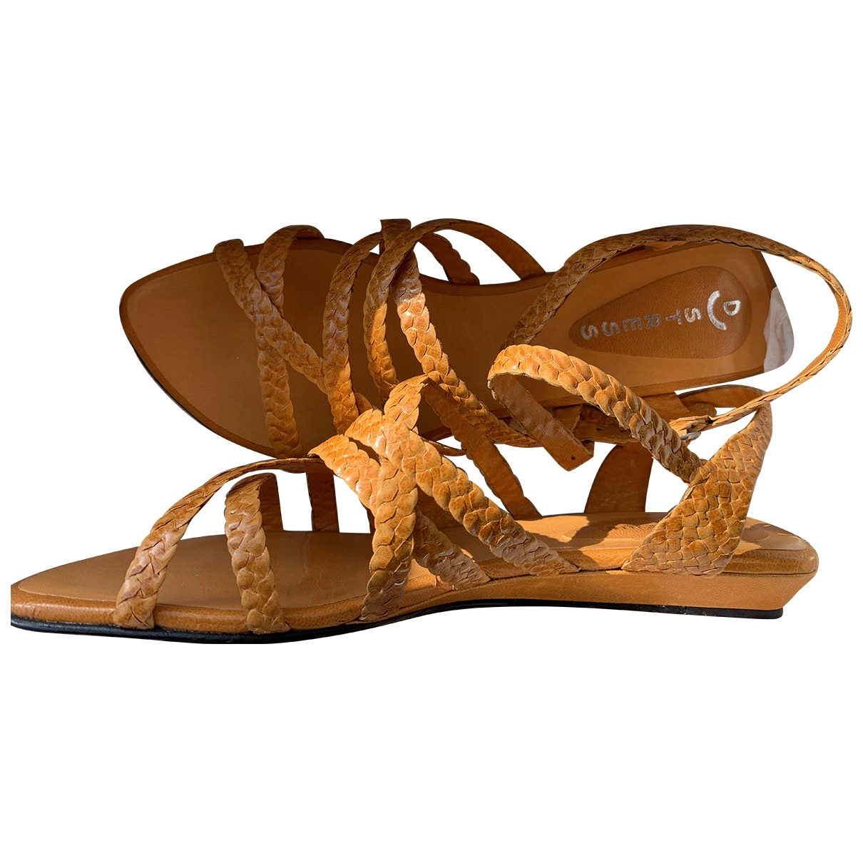 Non Signé / Unsigned \N Orange Leather Sandals for Women 37 EU