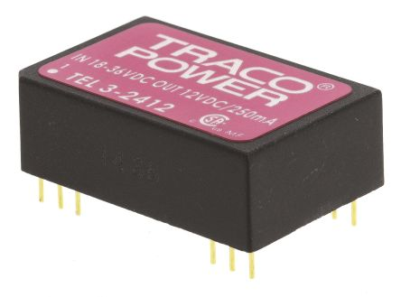 TRACOPOWER TEL 3 3W Isolated DC-DC Converter Through Hole, Voltage in 18 → 36 V dc, Voltage out 12V dc