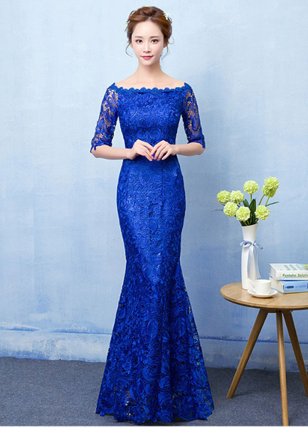Milanoo Mermaid Evening Dress Royal Blue Lace Prom Dress Off The Shoulder Half Sleeve fishtail Maxi Party Dress wedding guest dress