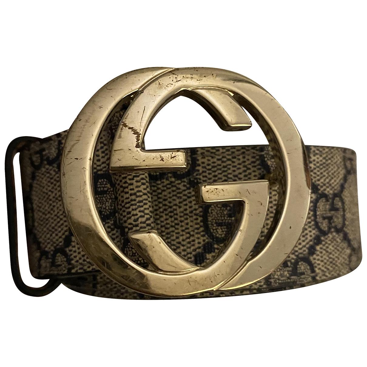 Gucci Interlocking Buckle Beige Cloth belt for Women 90 cm
